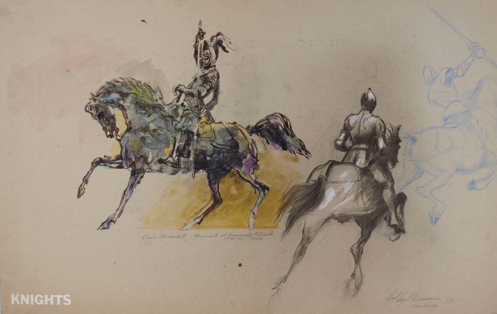 War Horses, Mixed Media on Paper, 23 X 36.5 in, 1970