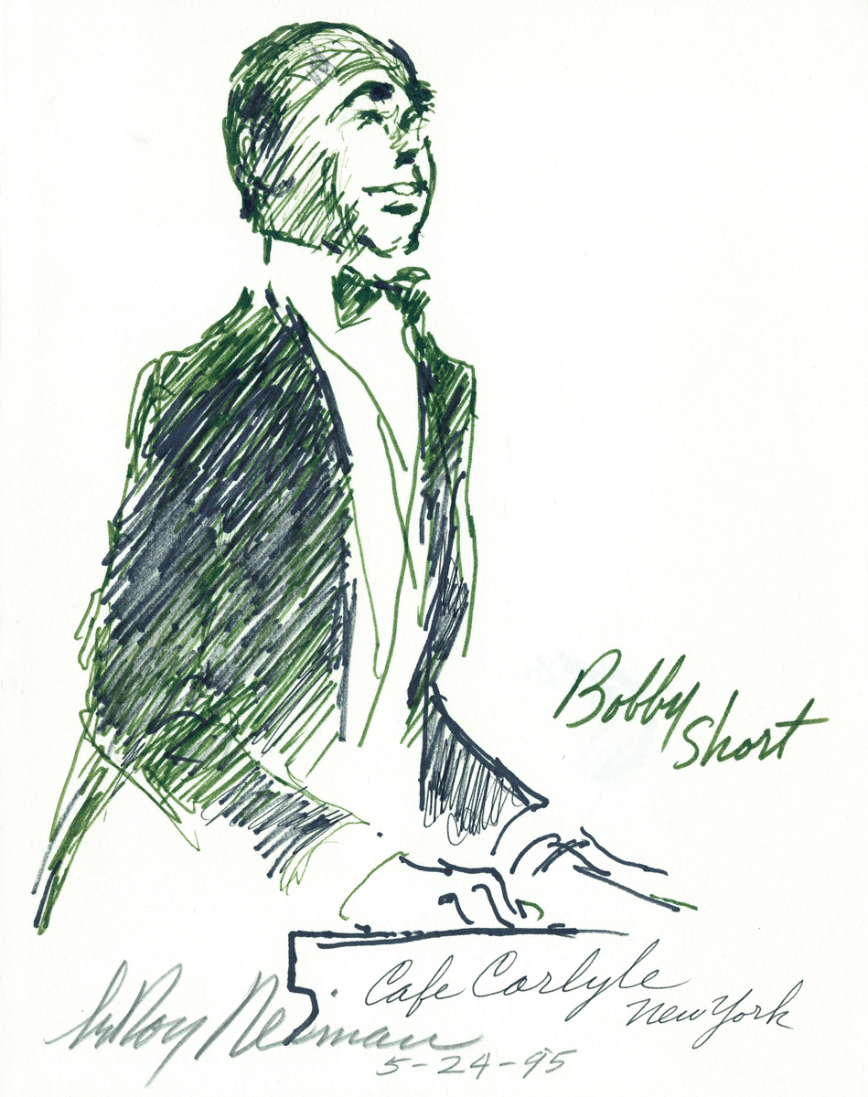 Bobby Short at Café Carlyle in NYC, Mixed Media on Paper, 9.75 X 7.75 in, 1955
