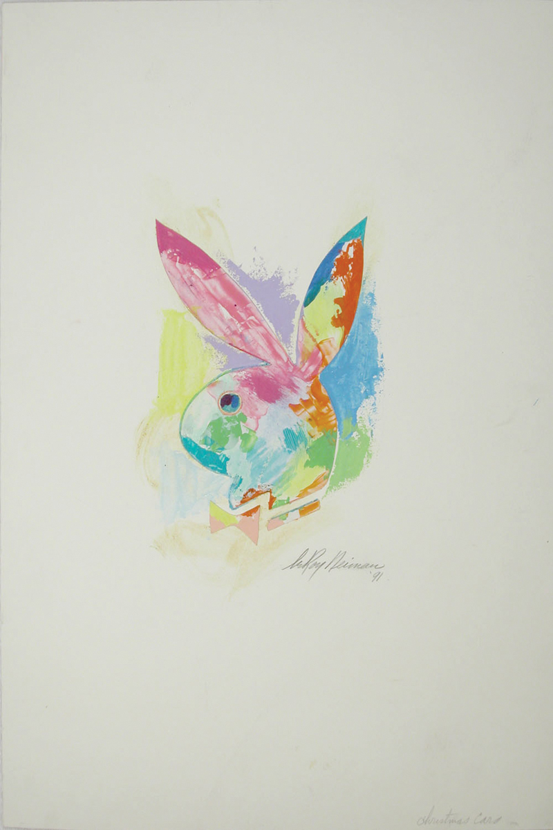 Playboy Bunny Christmas Card Design, Mixed Media on Paper, 26 X 18 in, 1991