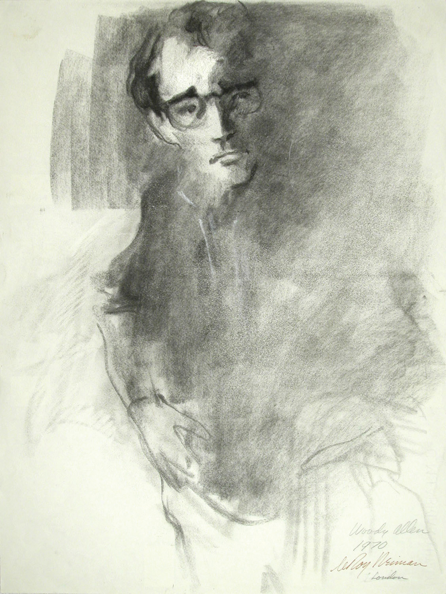 Woody Allen, Charcoal on Paper, 24 X 18 in, 1970