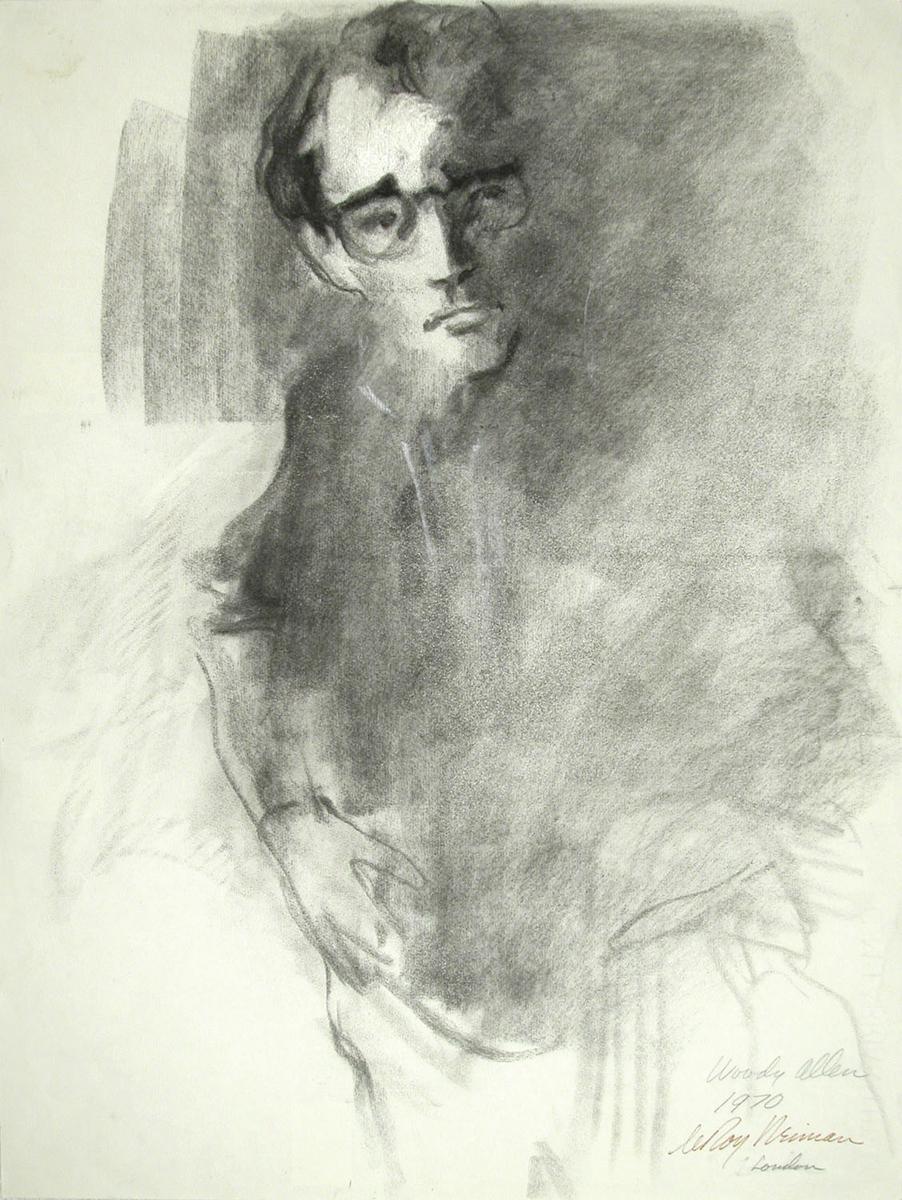 Woody Allen, Charcoal on Paper, 24 X 18 in, 1970