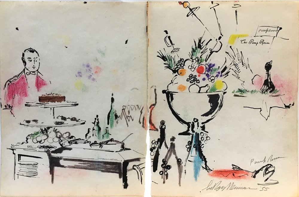 Pump Room, Mixed Media on Paper, 10.5 x 15 in, 1955