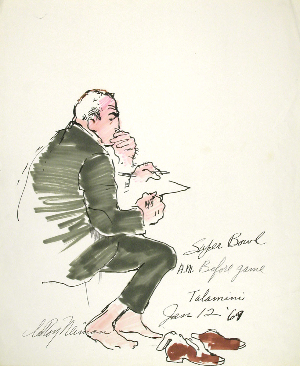 Talamini, Before Super Bowl, Mixed Media on Paper, 16.25 X 13.75 in, 1969