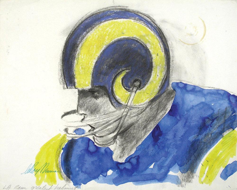 Ram Helmet, Mixed Media on Paper, 12 X 15 in