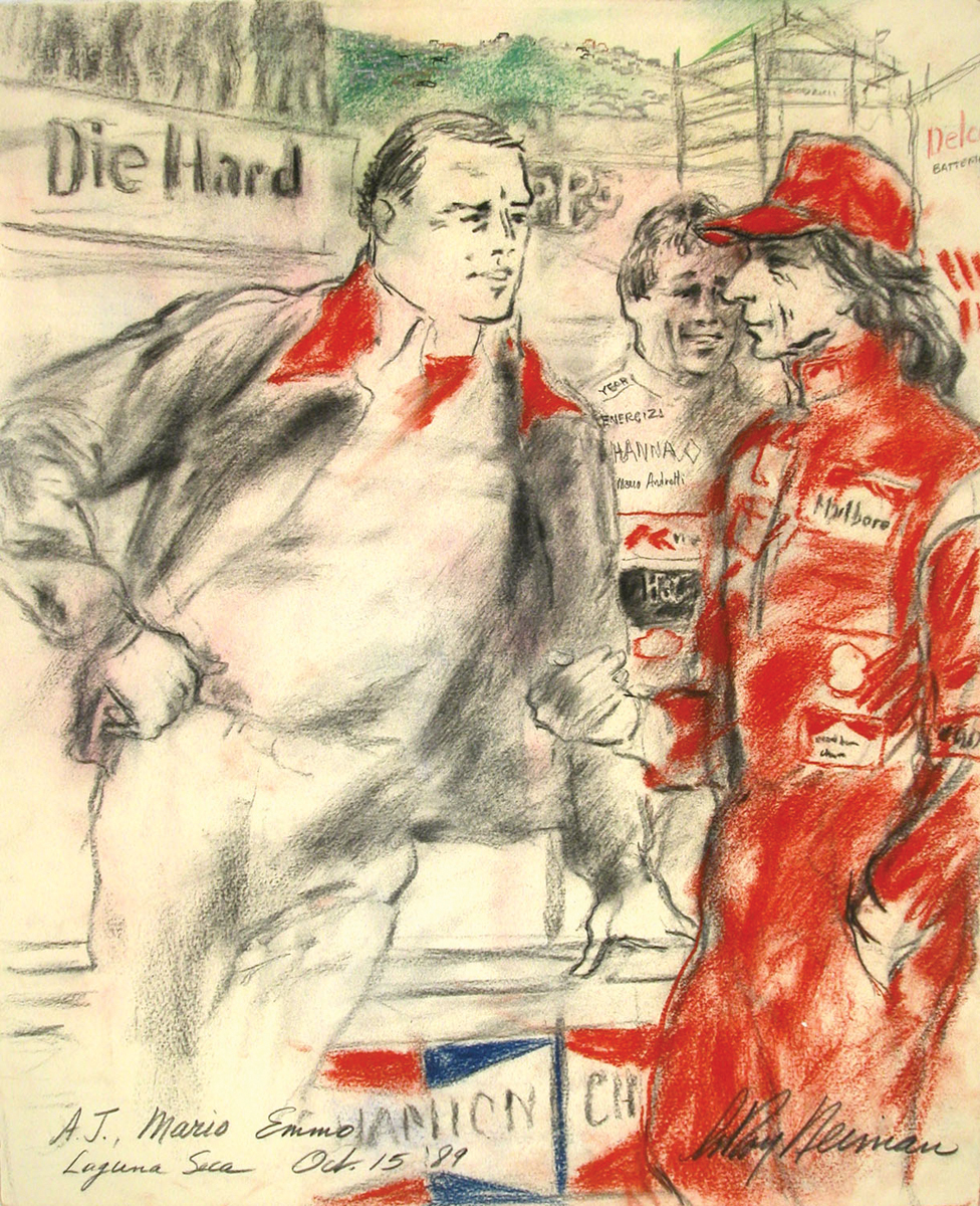 A.J. Hoyt, Mario Andretti and Emerson Fittipaldi, Mixed Media on Paper, 22.25 X 20.25 in, 1989
