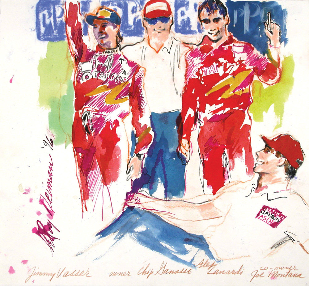 Jimmy Vasser, Chip Ganassi, Alex Lanardi and Joe Montana, Mixed Media on Paper, 13.5 X 14.5 in, 1996