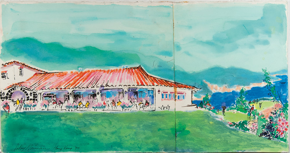 Hong Kong Golf Course, Mixed Media on Paper, 13.5 X 25.5 in, 1990