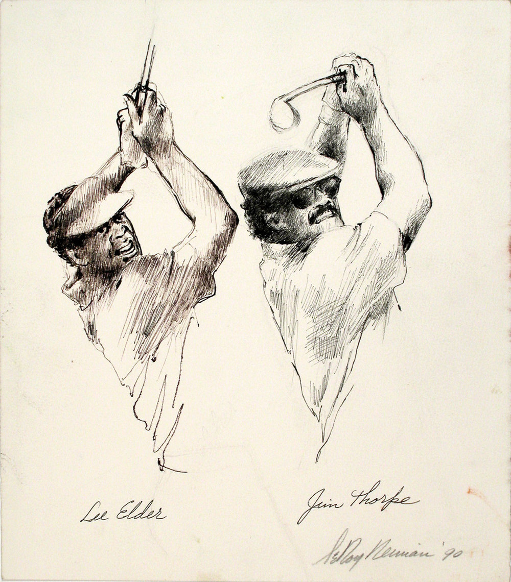 Lee Elder and Jim Thorpe, Ink on Paper, 13.25 X 11.5 in, 1990