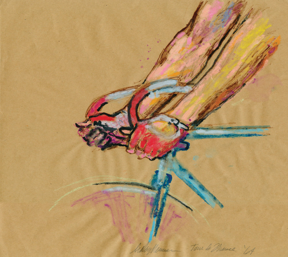 Handlebars at the Tour de France, Mixed Media on Paper, 13.25 X 14.75 in., 1964