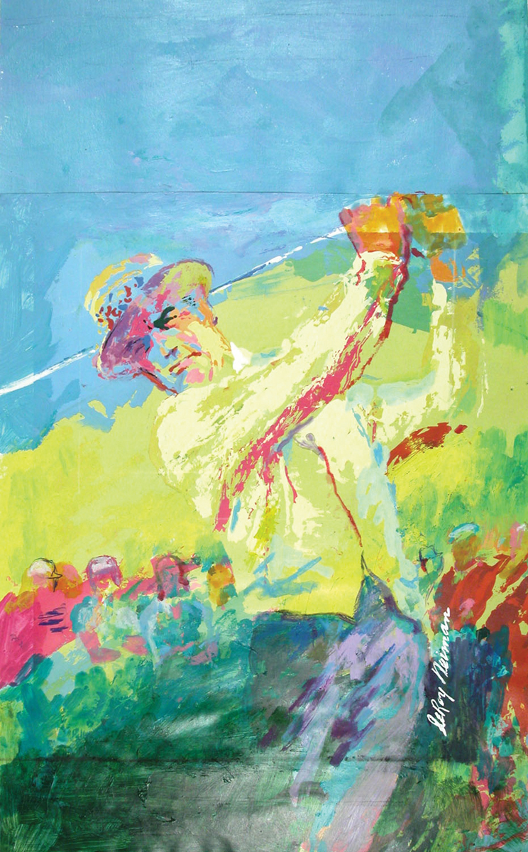 Gene Sarazen, Mixed Media on Paper, 23.5 X 14.25 in,