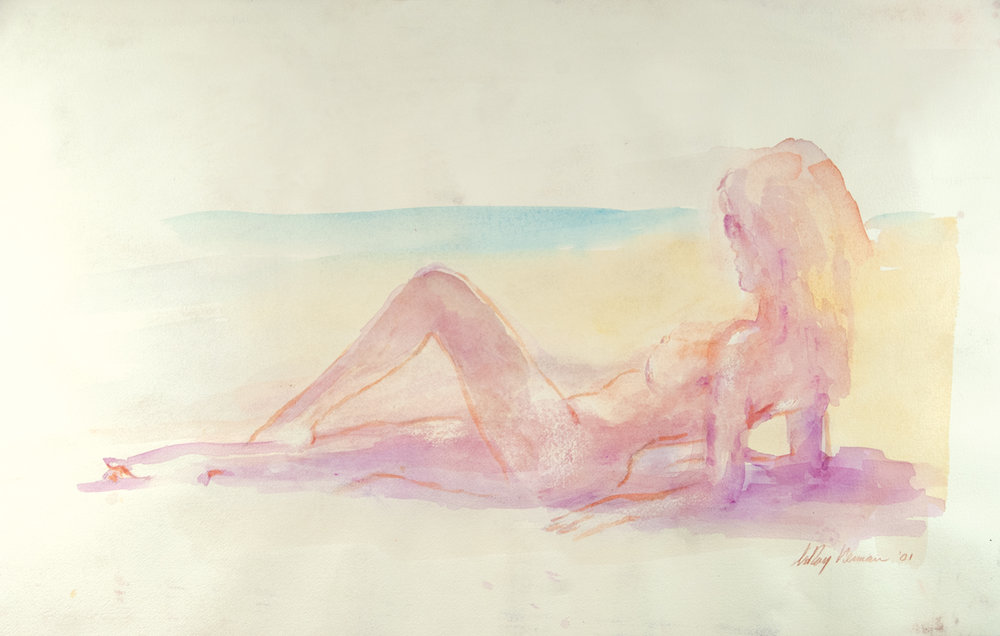 Reclining Nude on Beach, Mixed Media on Paper,  17.5 X 35 in, 2001