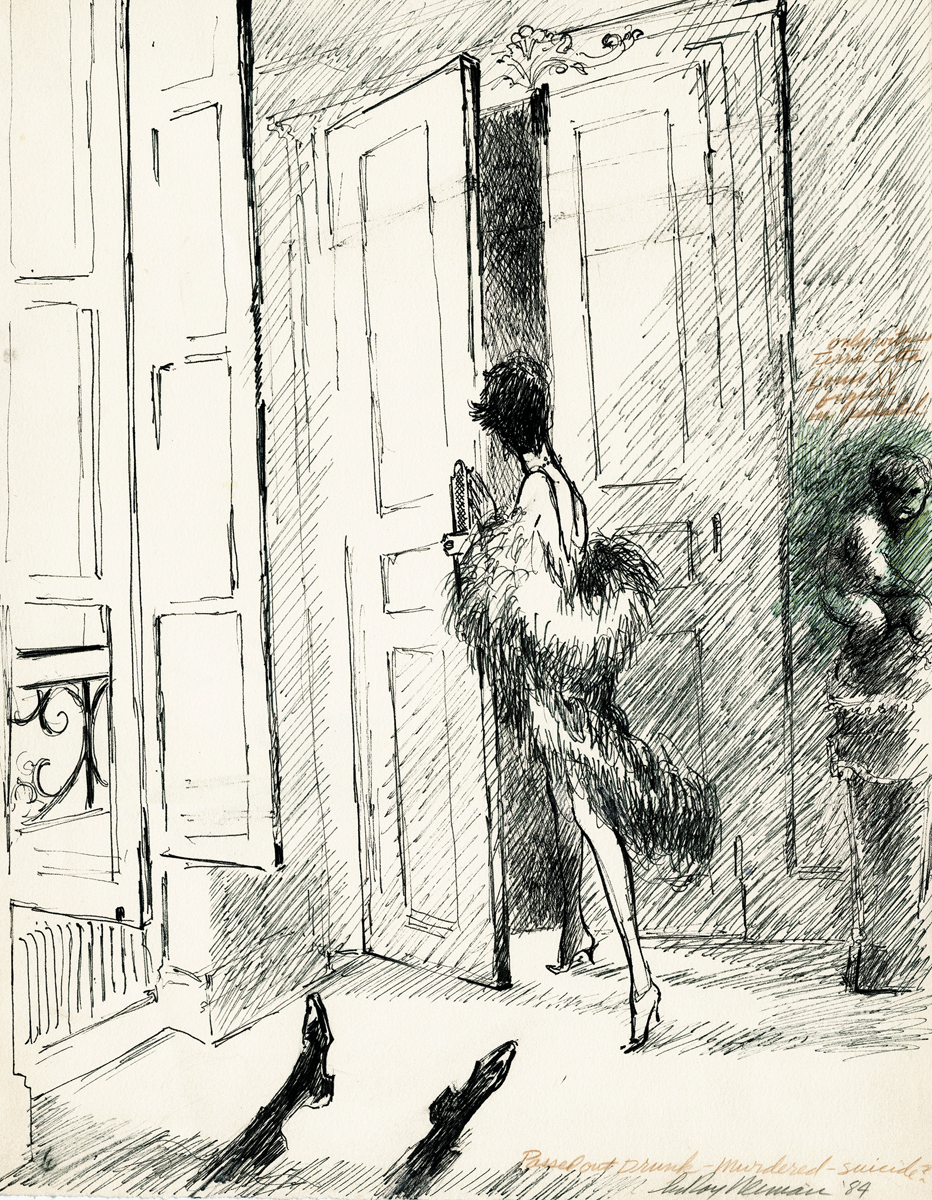 Murder Scene Escape, Ink on Paper, 17.5 X 13.5 in, 1984