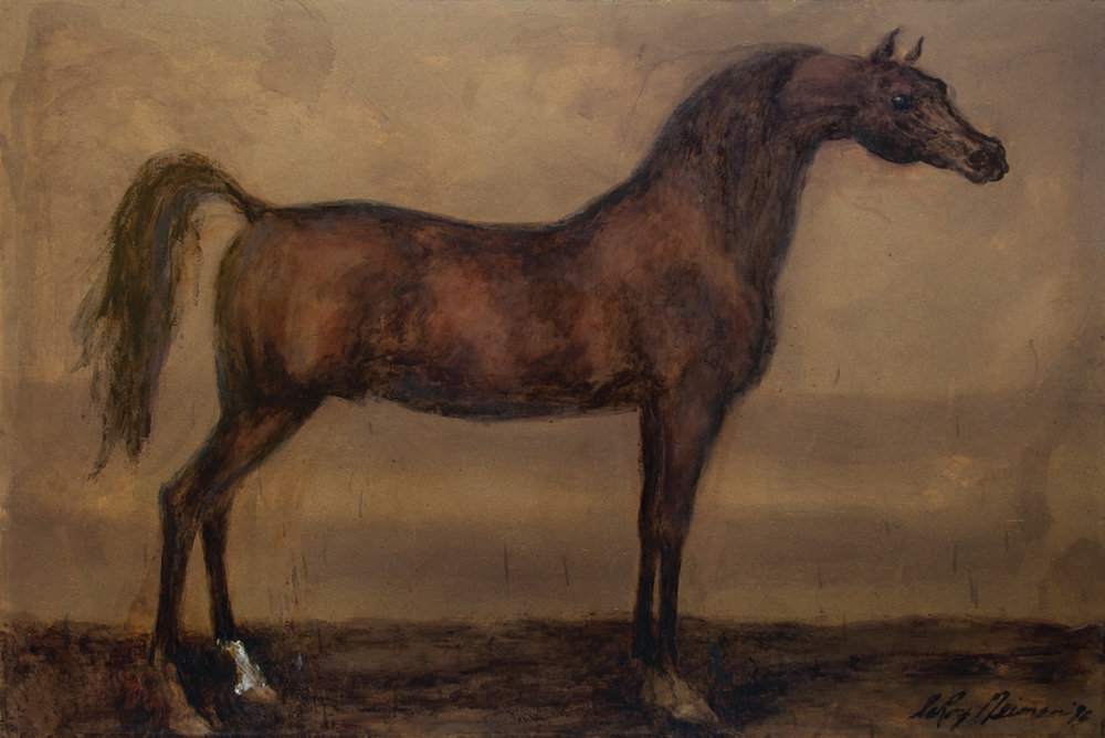 Pesniar (Arabian Horse), Mixed Media on Panel, 48 X 72 in, 1985