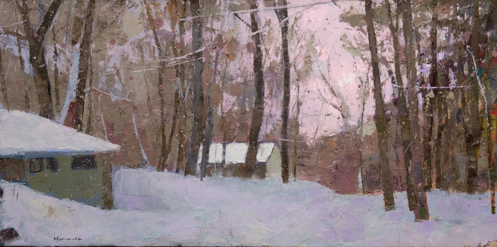 LARRY HOROWITZ, Croton Heights Winter, oil on canvas, 18 x 36, 2016
