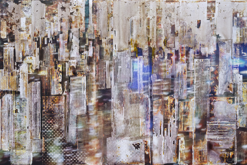 GOTTFRIED SALZMANN, NY Blue light, mixed media on photograph and wood, 29 x 19.5 in, 2017