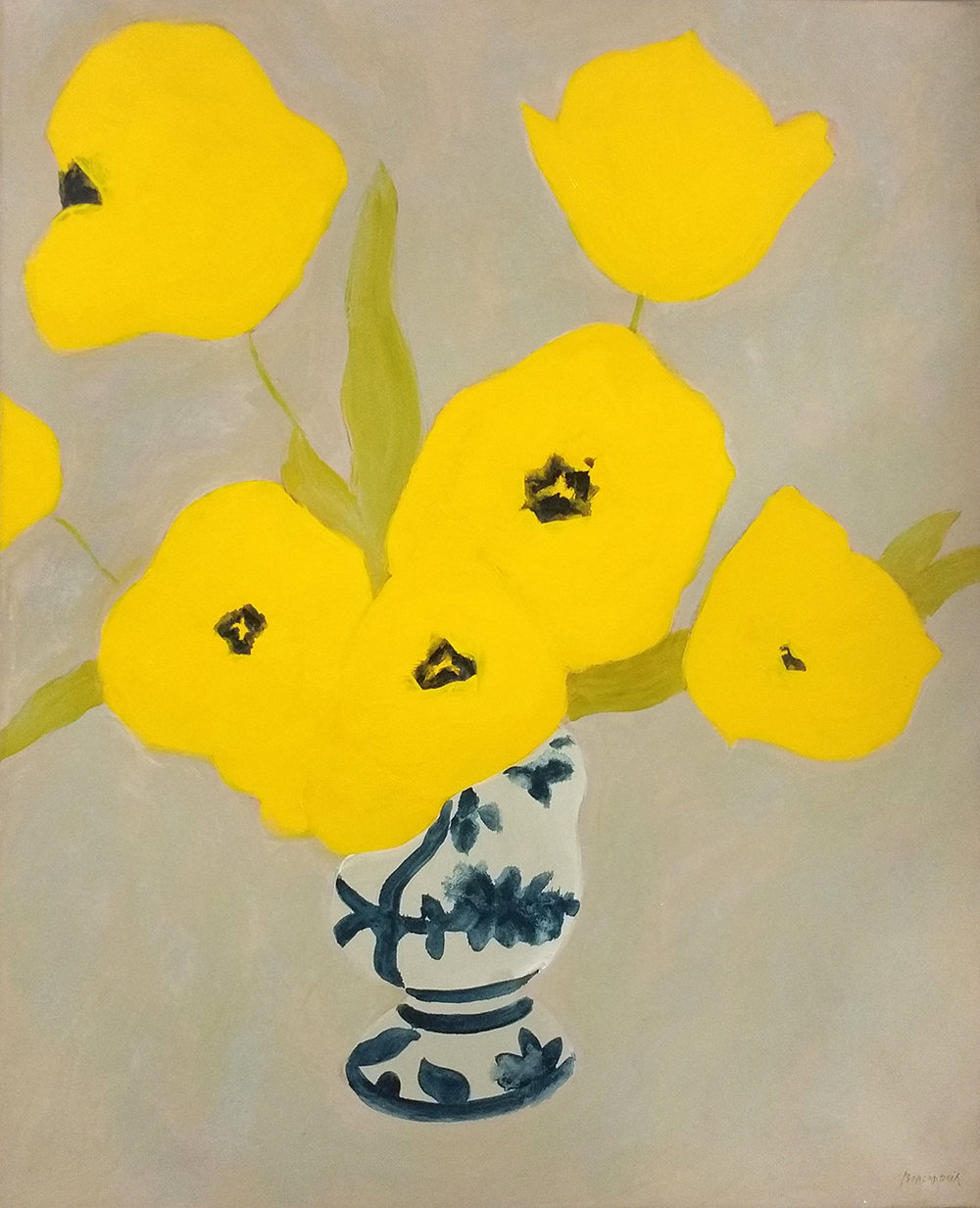 SOLD PIERRE BONCOMPAIN, Tulipes jaunes au coeur noir,  oil on canvas, 44 x 57 in