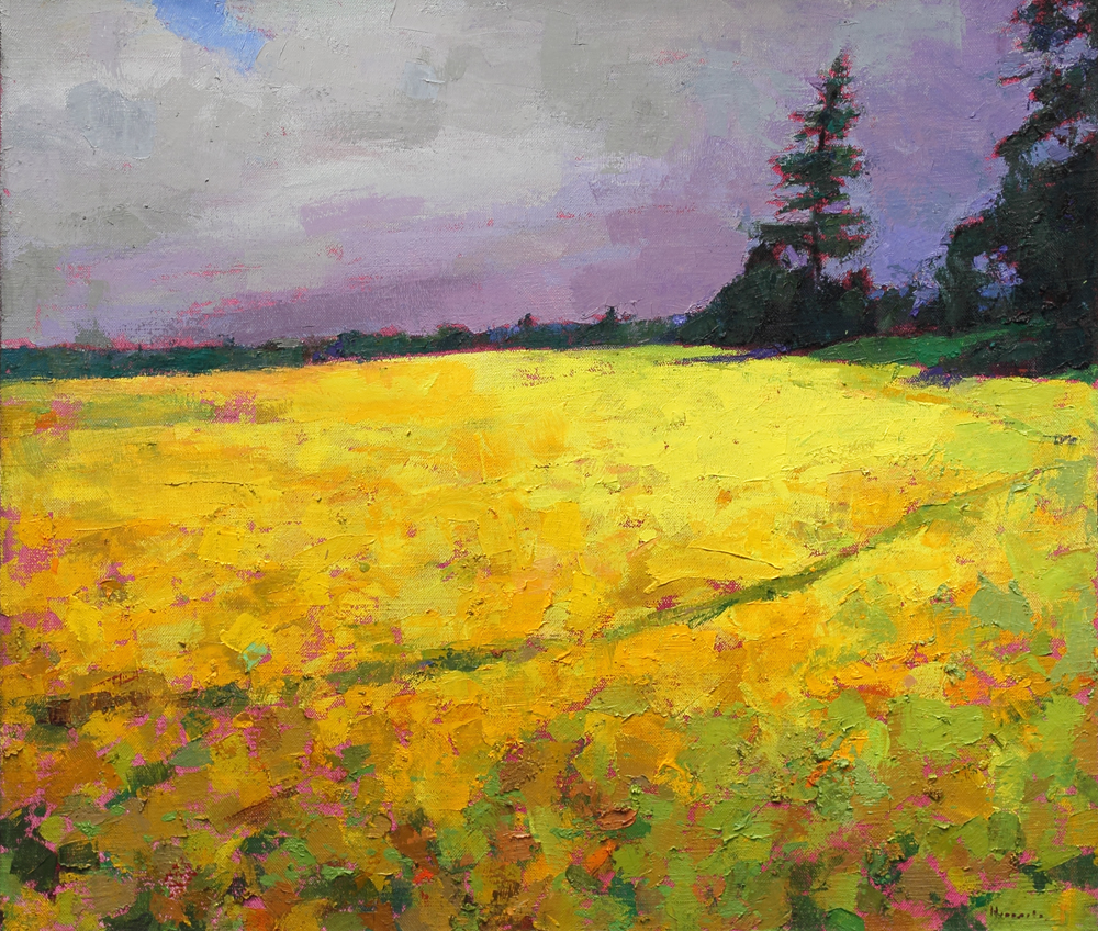 SOLD Yellow field, oil on canvas, 34 x 40in, 2017