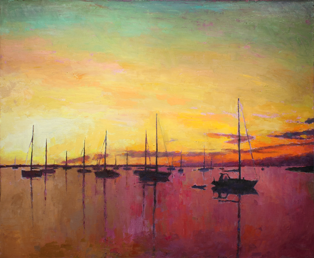 Red sunset, oil on canvas, 64 x 77 in, 2017