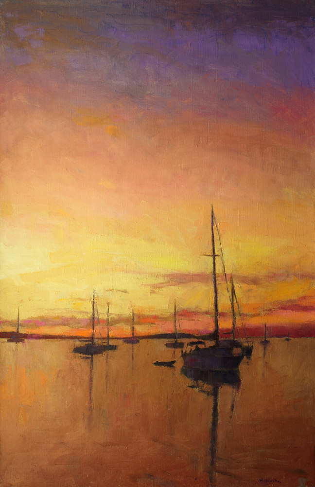 Sunset Sailboats, oil on canvas, 64 x 42 in., 2017