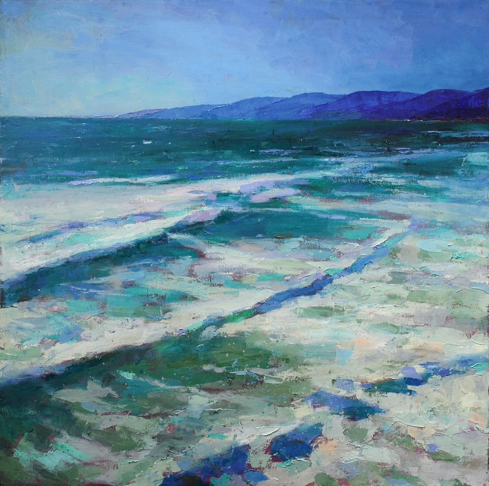 The surf, oil on canvas, 39 x 39 in, 2017
