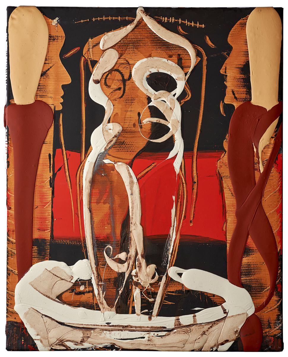 Ancient Egypt bath, mixed media on canvas, 63 x 51 inches, 2017
