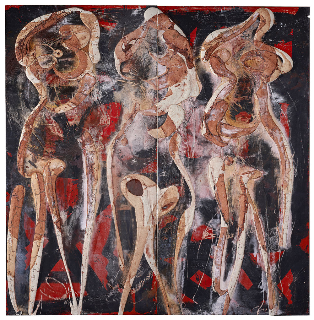 SOLD The three graces on stage, mixed media on wood, 97.5 x 95 inches, 2017