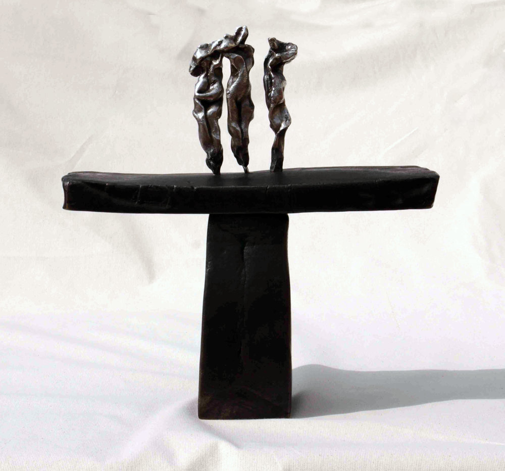 The three graces on silver	bronze and silver, 14 x 13 x 4.5 inches, 2017