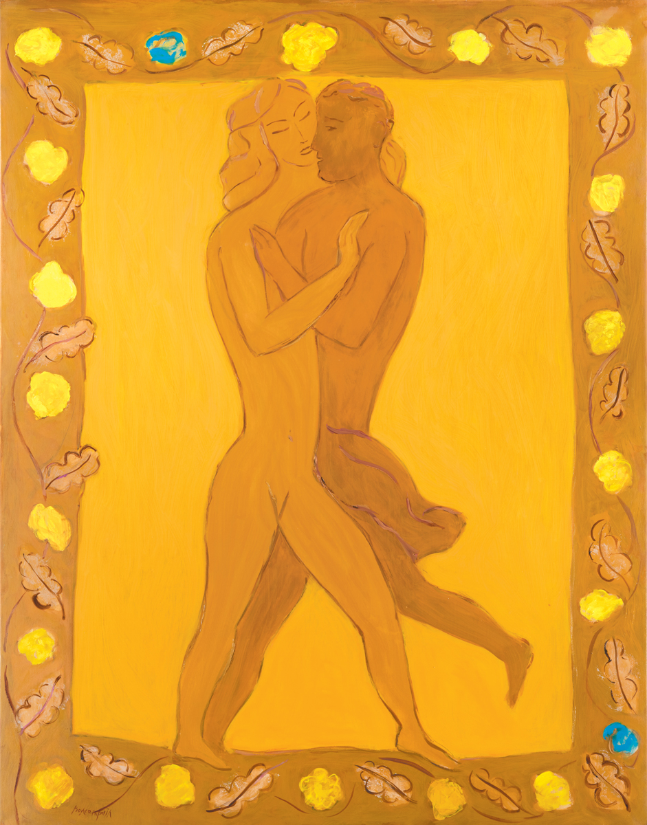 How pleasant are your embraces, my sister, my betrothed, Oil on paper on canvas, 57.5 x 45 in