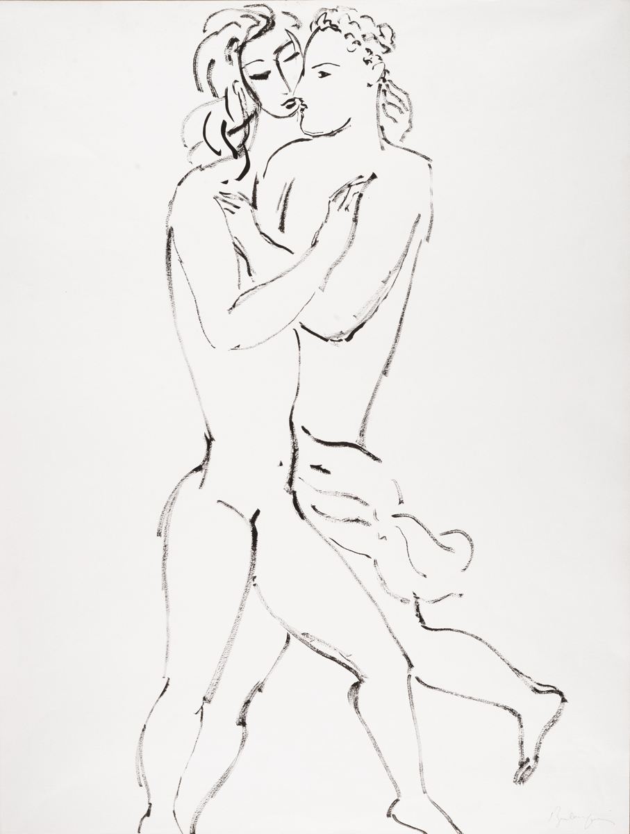 How pleasant are your embraces, my sister, my betrothed, Ink drawing, 26 x 20 in