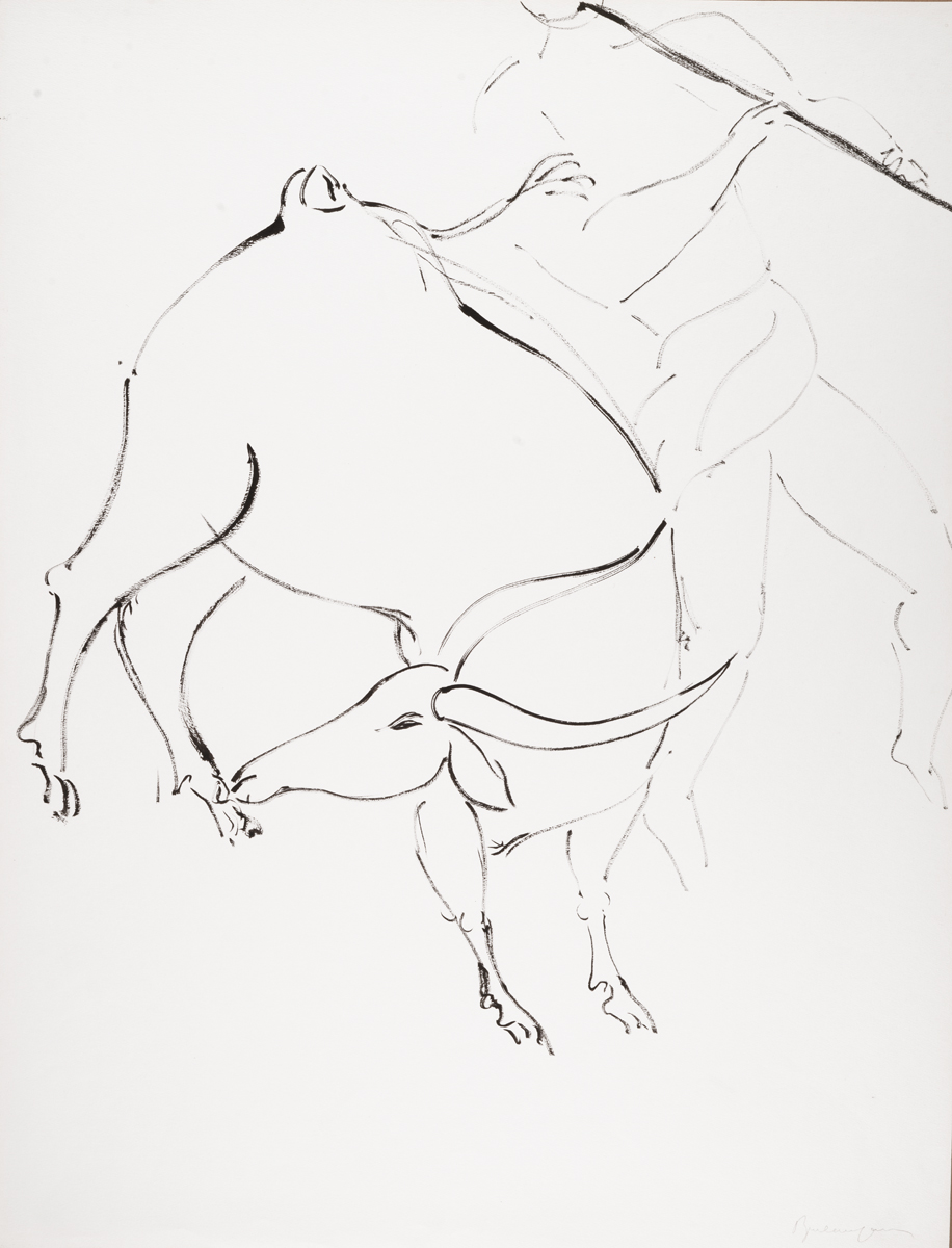 My beloved has come down to the garden to graze his flock, Ink drawing, 26 x 20 in