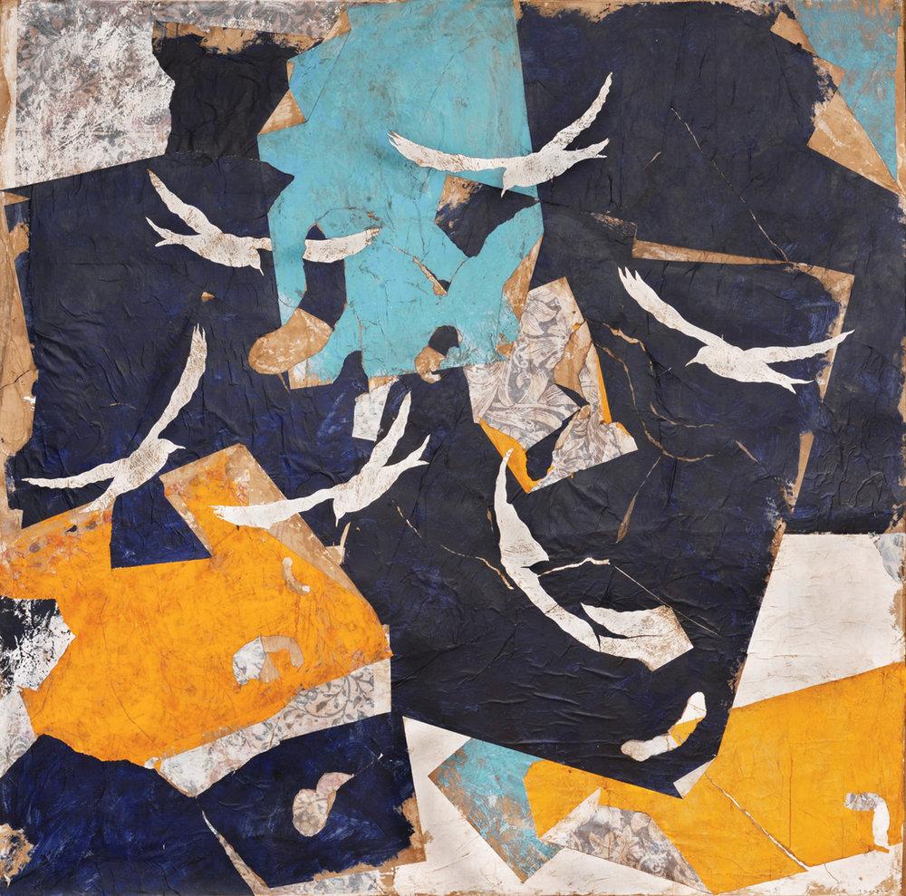 Mediterranée, Mixed media on canvas, 79 x 79 inches, 2017