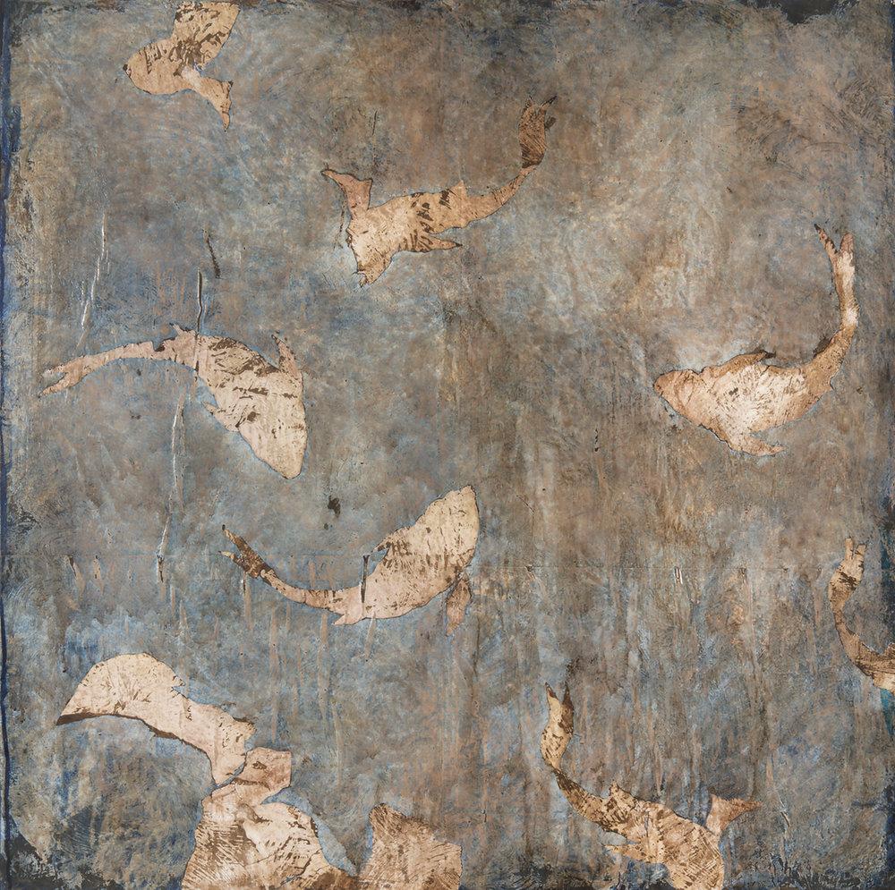 Aquatique, Mixed media on canvas, 39 x 39 inches, 2017
