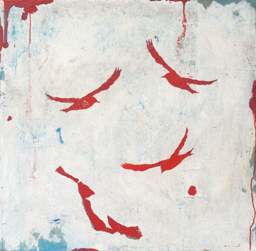 Ciel et oiseaux rouges, Mixed media on canvas, 32 x 32 inches, 2017
