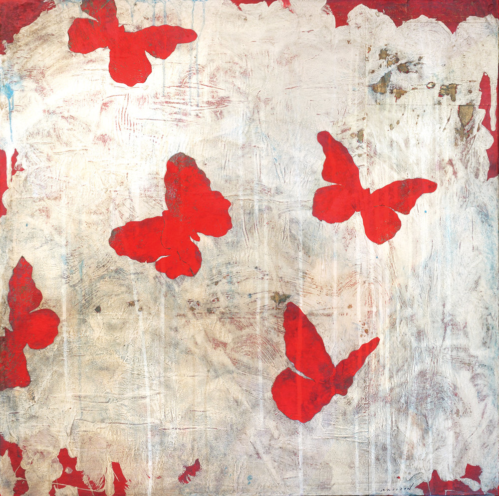 Papillons rouges printemps, Mixed media on canvas, 32 x 32	inches, 2017