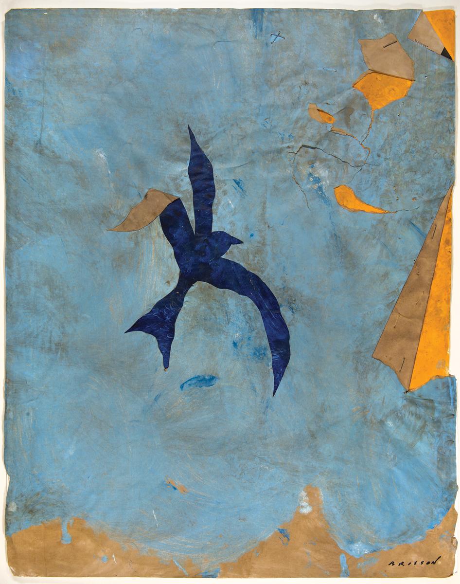 L'oiseau bleu, Mixed media on paper, 20 x 16 inches,2017