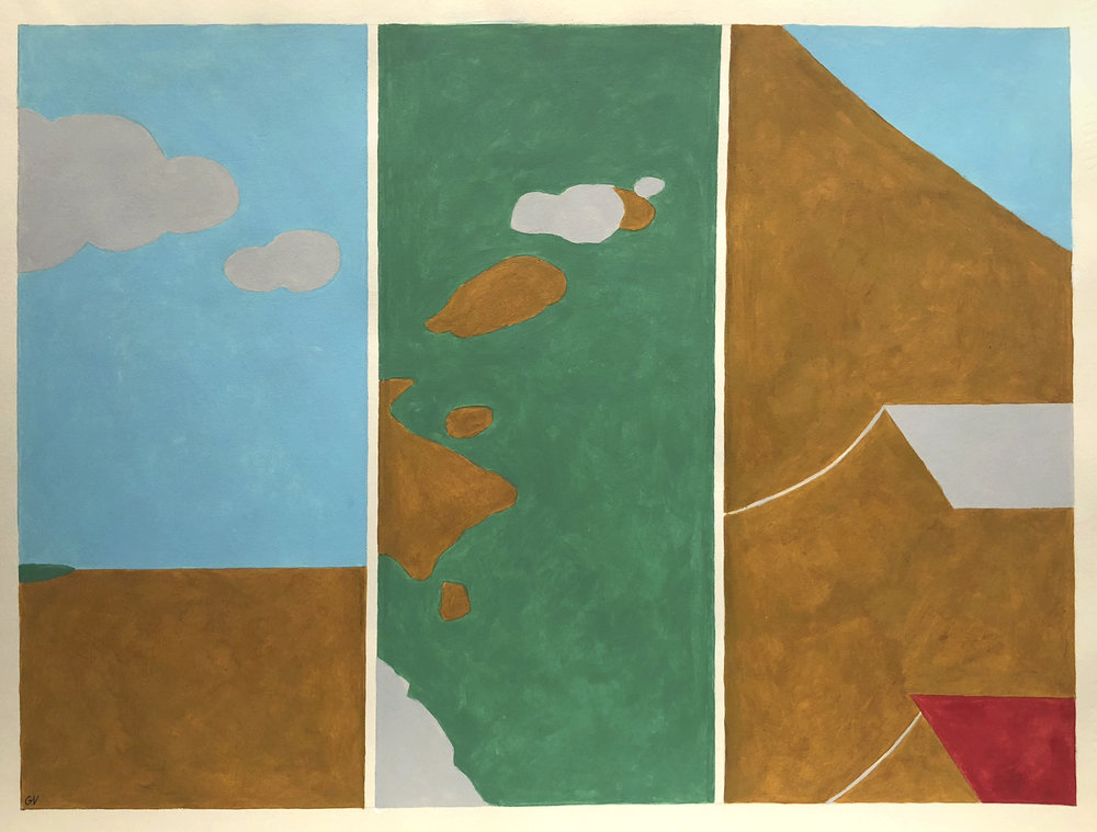 Study for Screen Diptych, Acrylic on Paper, 17 x 22 inches, 1985