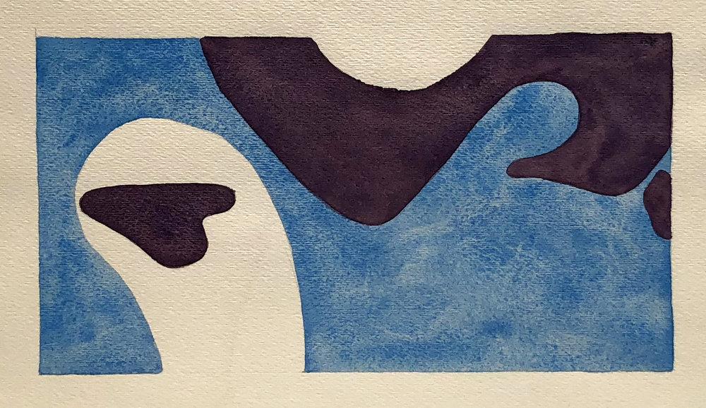Alaskan Sea, Watercolor on Paper, 11 x 15 inches., 1970