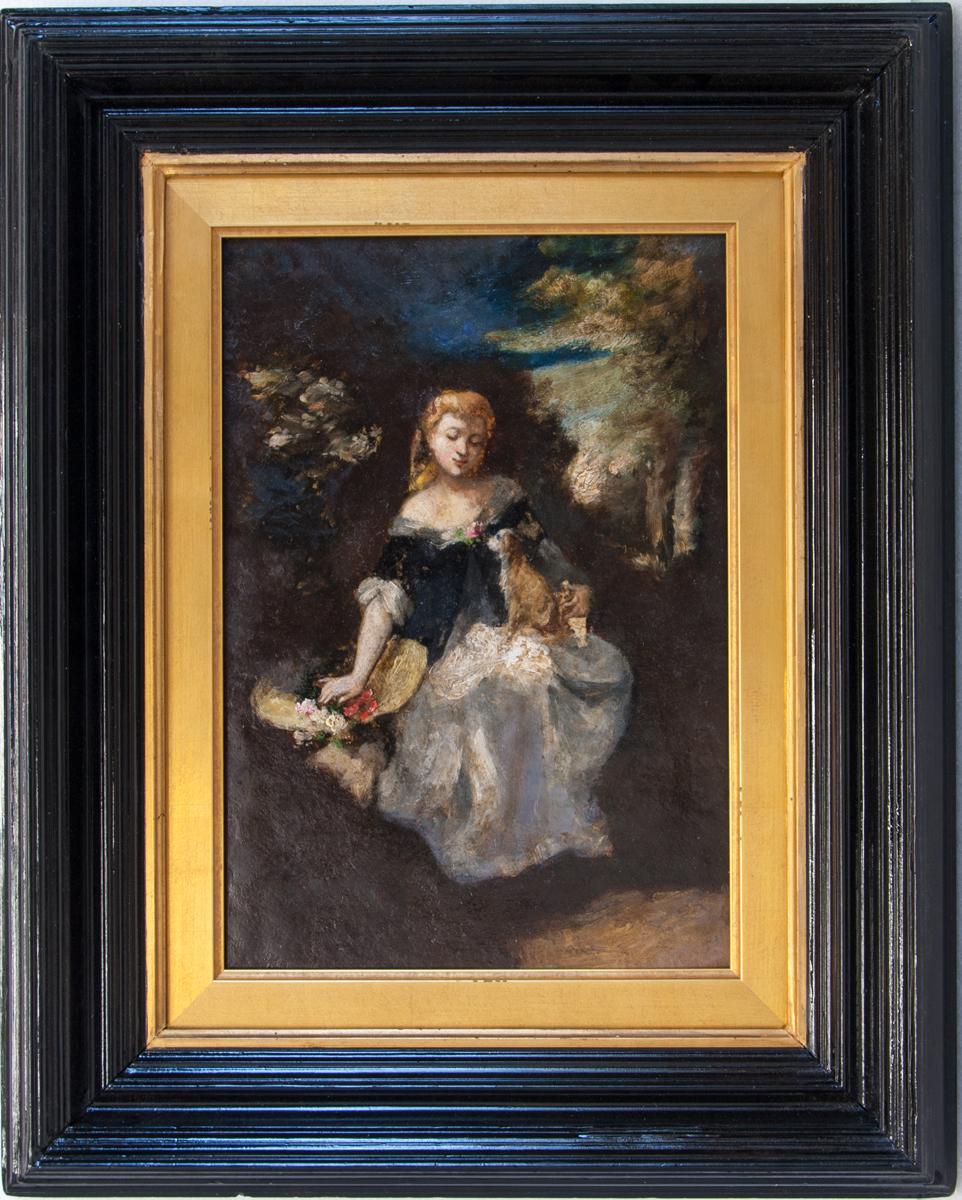 LOT 148 Narcisse Diaz de la Peña, Marie, fille de l'artiste avec son chien, Original Oil on panel,  14.1 x 9.9 in.