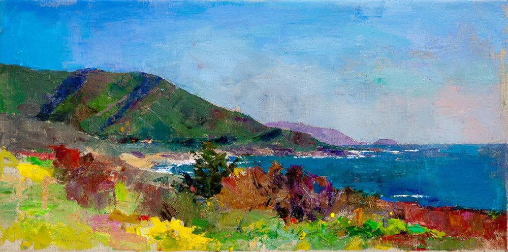 Big Sur Coast, Oil on Canvas, 14 x 28 in.
