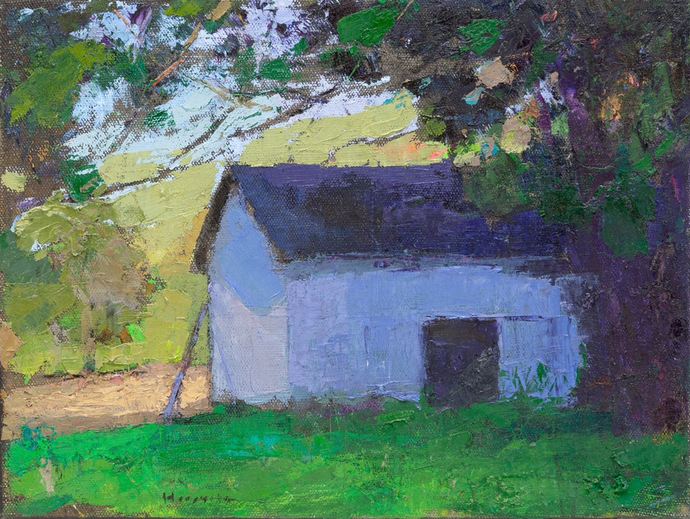 Barn in the shadows, Oil on Canvas, 12 x 16 in.
