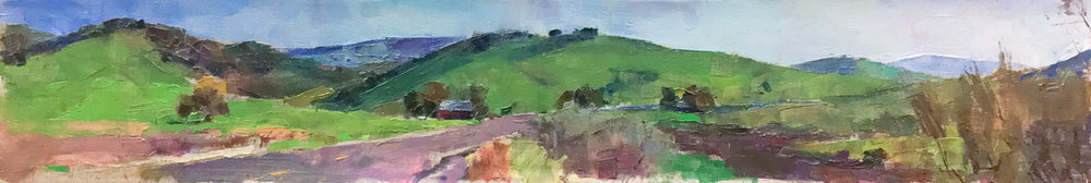 Central California Landscape, Oil on Canvas, 7 x 41 in.