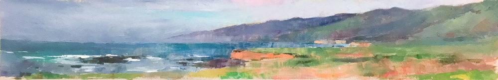 San Simeon Coast, Oil on Canvas, 7 x 41 in.