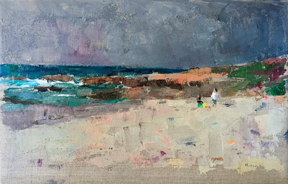 Near Pebble Beach, Oil on Canvas, 11 x 17 in.