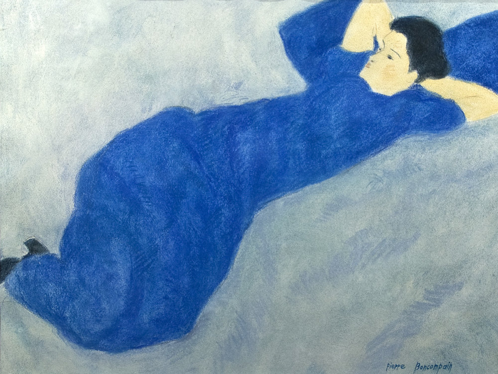 Laying Woman, Pastel on Paper, 19x25in, signed