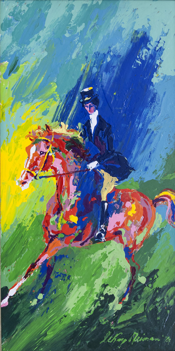 Equestrienne, acrylic and enamel on board, 23.5 x 12 in., 1974