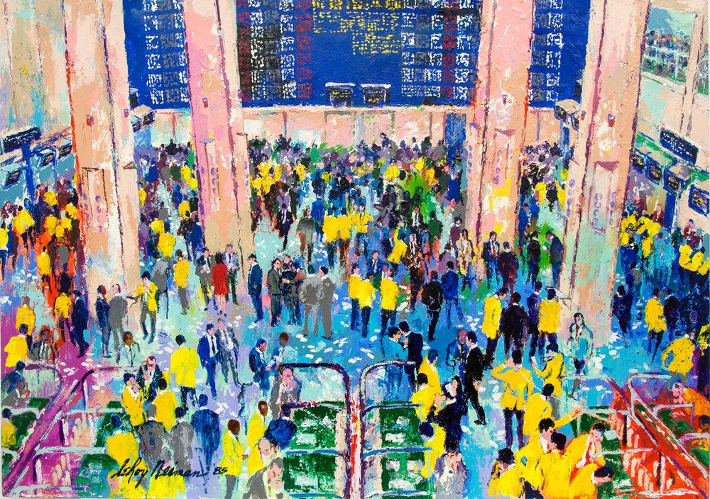 Sao Paulo Stock Exchange, acrylic and enamel on board, 34.5 x 48 in., 1985
