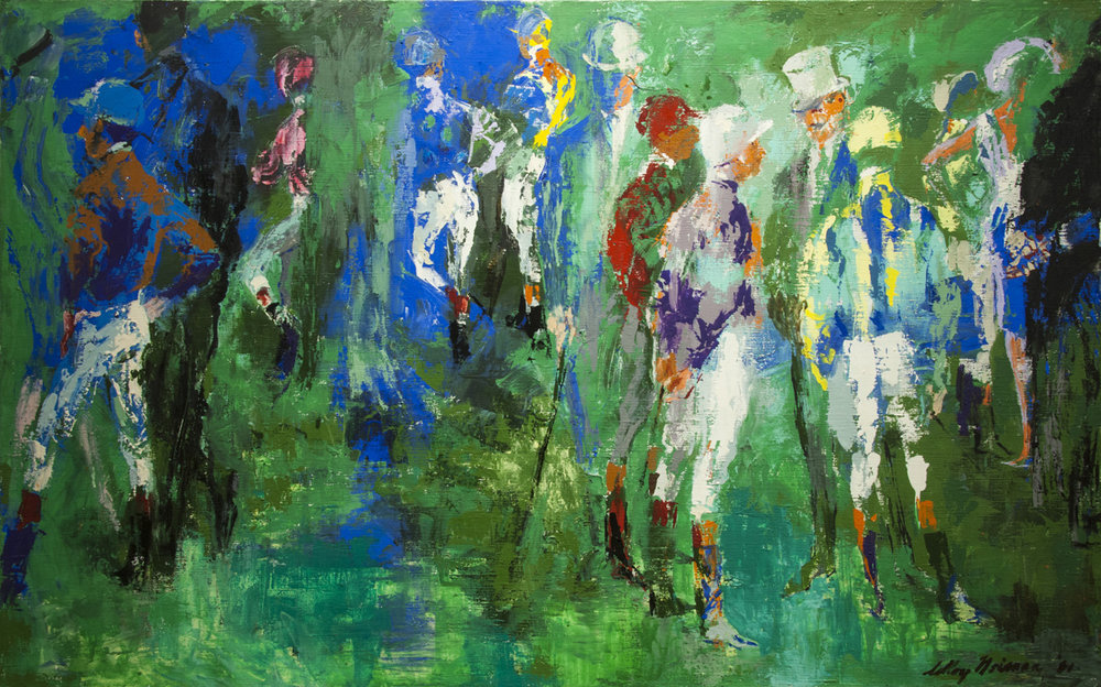 Longchamp Paddock, Acrylic and Enamel on Canvas 28.5 x 46 in., 1961