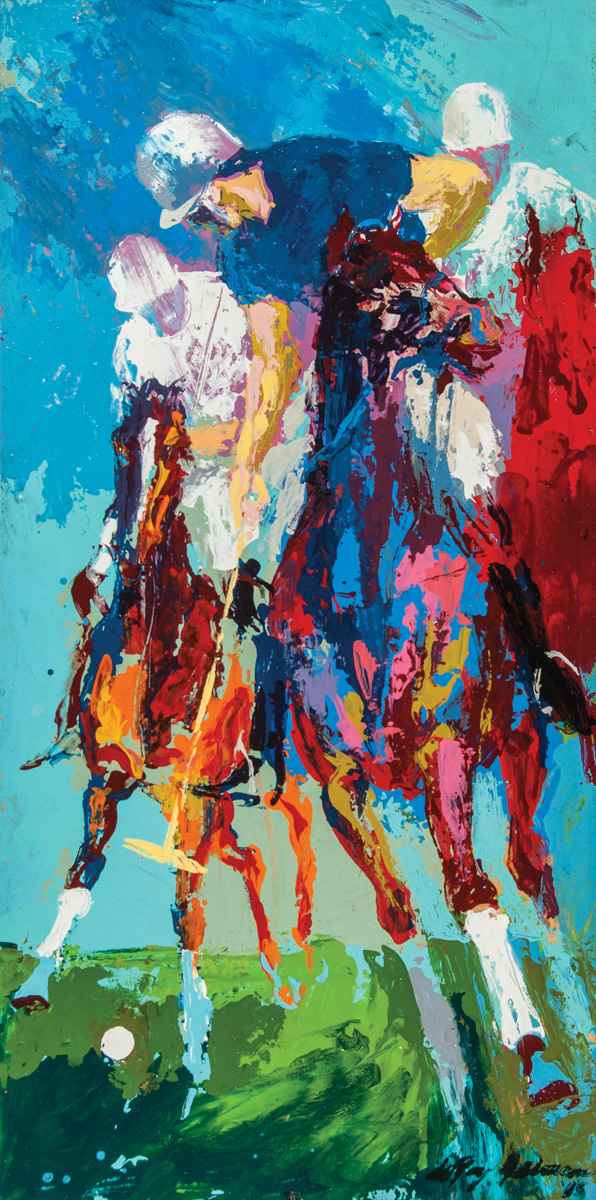 Blind Brook Polo, acrylic and enamel on board, 24 x 12 in., 1965