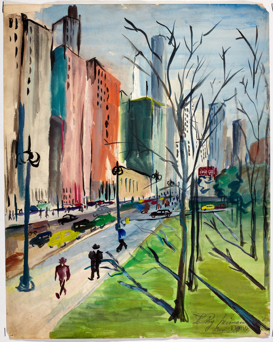 SOLD Parkside Scene, mixed media on paper, 24 x 19 in., 1947