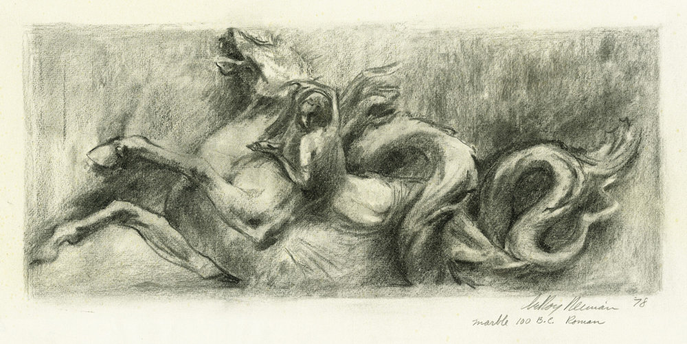 Drawing of Marble Horse, 100 B.C. Roman, mixed media on paper, 18 x 24 in., 1978